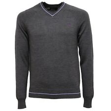 6877V maglione uomo FRED PERRY wool grey v-neck sweater man