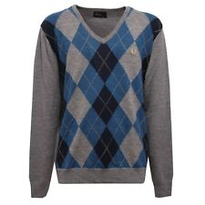 6911V maglione uomo FRED PERRY wool grey/blue v-neck sweater man