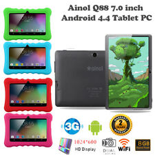 """7"""" Google Android 4.4 Quad Core 3G WiFi Dual Kam 8GB Kinder Tablet PC mit Case"""
