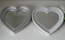 Heart Shaped Silver / Grey White Antique Vintage Decorative Ornate Wall Mirror