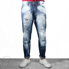 Pantalone Uomo Jeans Stonewashed Cinque Tasche Rotture Denim Toppe GIOSAL