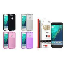 For Google Pixel XL TPU Rubber Flexible Case Skin Phone Cover + Tempered Glass