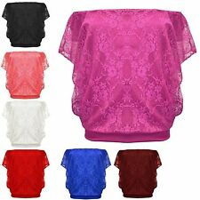 Women Floral Mesh Lace Batwing Sleeve Ladies TShirt Casual  Sexy Loose Dress Top
