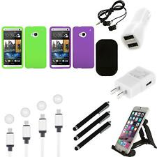 For HTC One M7 Silicone Skin Rubber Soft Case Phone Cover Charger