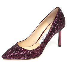 E6558 decollete donna wine glitter JIMMY CHOO ROMY scarpe shoe woman