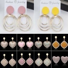 Fashion Womens Heart Circle Pearl Ear Stud Dangle Drop Earrings Jewellery Gift