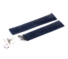 Blue Suede Leather Strap/Band for Tag Heuer Watch Clasp 20mm 22mm 24mm + Pins