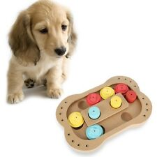 Pet Dog Cat Play IQ Fun Toy Interactive Wooden Food Dispensing Puzzle Plate Toys