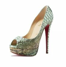 Christian Louboutin LADYPEEP Python Tropicana Platform Pump Shoes Red Heel $1545