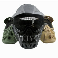 Tactical Airsoft Full Face Mask CS Games Safety Goggles Metal Mesh Sun Shield