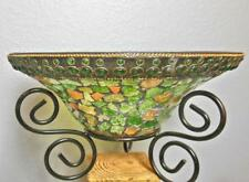 "Glass Mosiac Bowl Greens and Golds on Metal Stand 10"" Diameter"