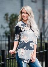 Women Casual Floral Print Long Sleeve Autumn Wear Tunic Blouse