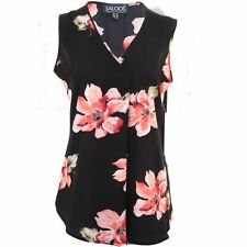 Womens Chiffon Crepe Plus Size Wrap V Neck High Low Flare Floral Top Blouse