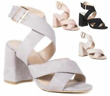 WOMENS LADIES HIGH HEEL PARTY ANKLE STRAPPY CUT OUT PEEP TOE SHOES SANDALS SIZE