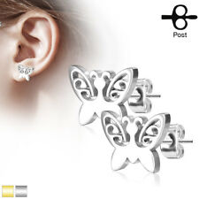 Pair of Butterfly 316L Surgical Stainless Steel Stud Earrings