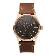 Nixon Herren Uhr Sentry 38 Leather - Rose Gold / Gunmetal