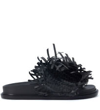 Slipper MM6 Maison Margiela in pelle nera con intreccio e frange