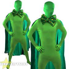 SUPER ST PATRICK'S DAY MAN GREEN FANCY DRESS SUPERHERO COSTUME PADDYS SKIN SUIT