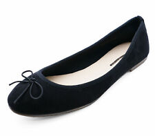 WOMENS FLAT BLACK WORK SCHOOL SHOES DOLLY COMFY BALLET BALLERINA PUMPS UK 3-8
