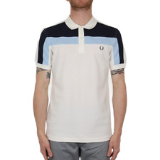 X Fred Perry Colour Block Panel Pique Polo - Snow White (Fred Perry Limited)