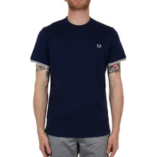 X Fred Perry Waffle Panel T Shirt - French Navy (Fred Perry Limited)