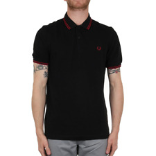 X Fred Perry Twin Tipped Polo Shirt - Black / Claret (Fred Perry Limited)