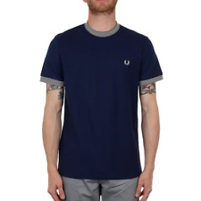 X Fred Perry Stripe Rib Pique Tee - Rich Navy (Fred Perry Limited)