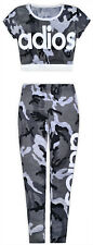 Girls Camo Crop Top And Leggings Outfit New Kids Summer Set Grey Ages 2-13 Years