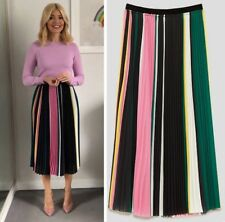 Zara Holly Willoughby Multicoloured Striped Chiffon Accordion Pleated Midi Skirt