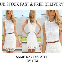 Womes Ladies Floral Overlay White Lace Summer Party Cocktail Evening Dress UK