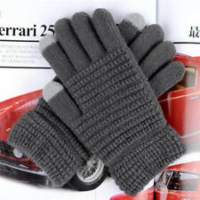 1 Pair of 5 Fingers Magic Knit Gloves Winter Wool Lined with Touchscreen Fingers