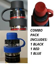 """3X DRIP TIP COVER, ANTI DUST CAP, AND VAPE BAND FOR 5/8"""" TIPS. 1X BLACK BLUE RED"""