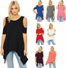 Womens Hanky Hem Top Ladies Cut Out Cold Shoulder Asymmetric Oversized Baggy Top