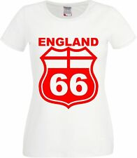 Copa Mundial Classic Football World Cup Retro England Route 66  Ladies T Shirt