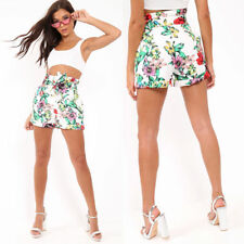 Womens Ladies Tropical Floral Print Belted High Waisted Hot Pants Shorts UK 8-14
