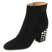 E4750 tronchetto donna black SERGIO ROSSI scarpe borchie suede boot shoe woman