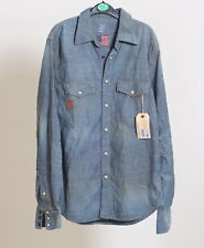 Replay shirt USA Made fashion collection long Blue Western Jeans Button Size M