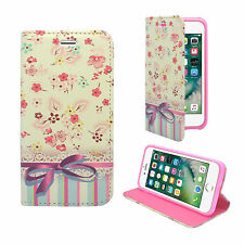 FOR APPLE IPHONE 7/8 WHITE PINK FLOWER PATTERN PU LEATHER WALLET COVER CASE