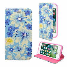 FOR APPLE IPHONE 7/8 BLUE MULTI FLOWER PU LEATHER WALLET COVER CASE