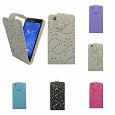 FOR SONY XPERIA Z3 COMPACT GLITTER IN VARIOUS COLOURS PU LEATHER FLIP CASE COVER