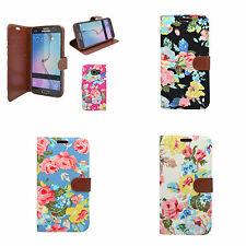 FOR SAMSUNG GALAXY NOTE 5 CLASSIC DENIM JEAN WALLET VINGAGE FLOWER CASE COVER