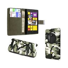 GREEN AND BLACK CAMOUFLAGE DESIGN BOOKFLIP PU LEATHER CASE FOR NOKIA LUMIA N1020