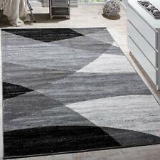 Grey Black Rug Abstract Pattern Designer Stylish Carpet Bedroom Hall Runner Mat