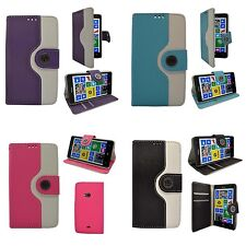 TWO COLOR BOOK  FLIP PRINT DESIGN PU LEATHER CASE FOR NOKIA LUMIA N625