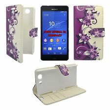 CASE PURPLE AND CREAM FLOWER DESIGN PU LEATHER WALLET FOR SONY XPERIA Z3 COMPACT
