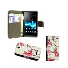 WHITE AND PINK FLOWER PU LEATHER BOOK FLIP CASE COVER FOR SONY XPERIA E C1505