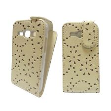 FOR SAMSUNG GALAXY ACE 3 WHITE GLITTER DIAMOND WHITE TRAY PU LEATHER FLIP CASE