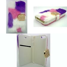 PELOSO Moda Viola, Rosa e bianco LIBRO CUSTODIA COVER FLIP PER APPLE IPHONE 4/