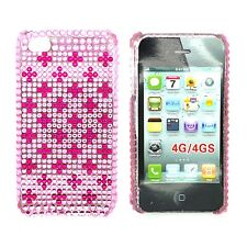 strass rosa acceso e Rosa Croce Custodia rigida posteriore per Apple iPhone 4/4S