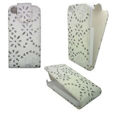 CUSTODIA COVER BIANCO DIAMANTE STRASS GEMMA FARFALLA FIORI PER IPHONE APPLE 4G